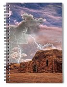 Southwest Navajo Rock House And Lightning Strikes Hdr Spiral Notebook