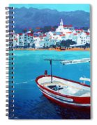 Spain Series 08 Cadaques Red Boat Spiral Notebook