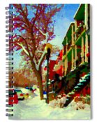 Splendor And Colors Of Quebec Winters Verdun Montreal Urban Street Scene Carole Spandau Spiral Notebook