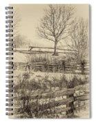 Split Rail Winter Sepia Spiral Notebook