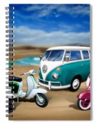 Splitty Vw Beetle And Scooters Spiral Notebook