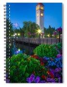 Spokane Clocktower By Night Spiral Notebook