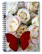 Spray Roses And Red Butterfly Spiral Notebook