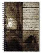 spring water memories - A letter and hand print composition beside a vintage griffin Spiral Notebook