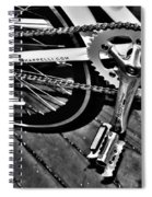 Sprocket And Chain - Black And White Spiral Notebook