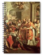 St. Bernard Of Clairvaux 1090-1153 And William X 1099-1137 Duke Of Aquitaine Oil On Canvas Spiral Notebook
