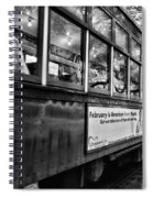 St. Charles Ave Streetcar Whizzes By-black And White Spiral Notebook