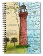 St Johns River Lighthouse Fl Nautical Chart Map Art Cathy Peek Spiral Notebook