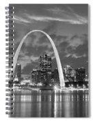 St. Louis Skyline At Dusk Gateway Arch Black And White Bw Panorama Missouri Spiral Notebook