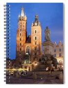St Mary Basilica And Adam Mickiewicz Monument At Night In Krakow Spiral Notebook