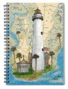St Simons Lighthouse Ga Nautical Chart Map Art Cathy Peek Spiral Notebook