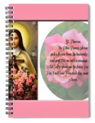 St. Theresa Prayer With Pink Border Spiral Notebook
