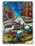 St Urbain Street Boys Playing Hockey Spiral Notebook