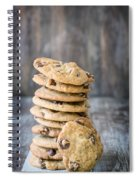 Stack Of Chocolate Chip Cookies With One Leaning Kitchen Art Spiral Notebook