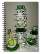 Stack Of Green Teacups  Spiral Notebook