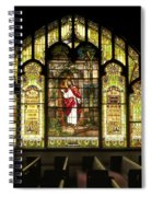 Stain Glass Behold I Stand At The Door And Knock Spiral Notebook