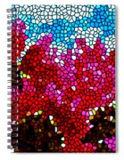 Stained Glass Red Sunflowers Spiral Notebook