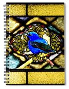Stained Glass Template Blue Bird Of Happiness Spiral Notebook