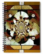 Stained Glass Template Sepia Flora Kalidescope Spiral Notebook
