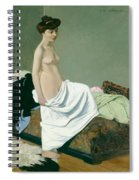 Standing Nude Holding A Gown On Her Knee Spiral Notebook