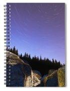 Star Trails Over Rocks In Saguenay-st Spiral Notebook