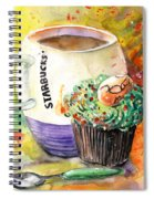 Starbucks Mug And Easter Cupcake Spiral Notebook