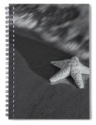 Starfish On The Beach Bw Spiral Notebook