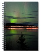 Stars And Northern Lights Over Dark Road At Lake Spiral Notebook