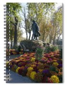 Statue And Flower Bed Across The Street From The Grand Palais Off Of Champs Elysees Spiral Notebook