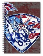 Statue Of Liberty On Stars And Stripes Flag Wood Background Recycled Vintage License Plate Art Spiral Notebook