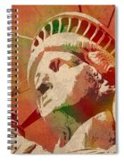 Statue Of Liberty Watercolor Portrait No 1 Spiral Notebook