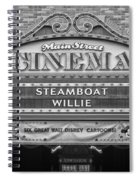 Steam Boat Willie Signage Main Street Disneyland Bw Spiral Notebook