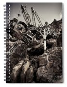 Steampunk Land Boring Machine At Disneysea Black And White Spiral Notebook
