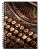 Steampunk - Typewriter - Too Tuckered To Type Spiral Notebook