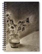 Still Life Ceramic Pitcher With Three Sunflowers Spiral Notebook