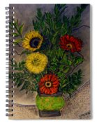 Still Life Ceramic Vase With Two Gerbera Daisy And Two Sunflowers Spiral Notebook