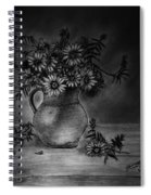 Still Life Clay Pitcher With 13 Daisies Spiral Notebook