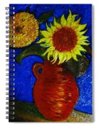 Still Life Clay Vase With Two Sunflowers Spiral Notebook