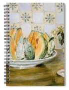 Still Life Of A Melon And A Vase Of Flowers Spiral Notebook