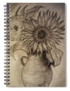 Still Life Two Sunflowers In A Clay Vase Spiral Notebook