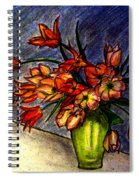 Still Life Vase With 21 Orange Tulips Spiral Notebook