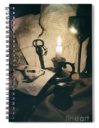 Still Life With Bones Rusty Key Wine Glass Lit Candle And Papers Spiral Notebook