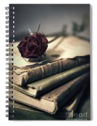 Still Life With Books And Dry Red Rose Spiral Notebook