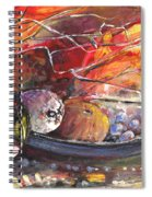 Still Life With Fruits And Vase And Dry Branches Spiral Notebook