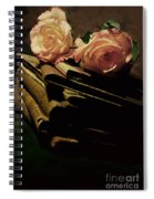 Still Life With Old Books And Two Pink Roses Spiral Notebook