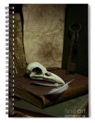 Still Life With Old Books Rusty Key Bird Skull And Feathers Spiral Notebook