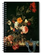 Still Life With Poppies And Roses Spiral Notebook