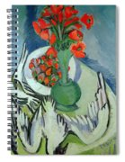 Still Life With Seagulls Poppies And Strawberries Spiral Notebook