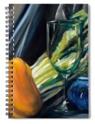Still Life With Yellow Pepper Bok Choy Glass And Dish Spiral Notebook
