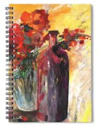 Still Live With Flowers Vase And Black Bottle Spiral Notebook